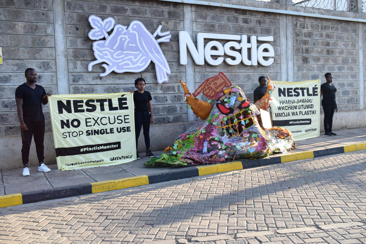 Plastic Monster Action at Nestlé Headquarters in Nairobi. © Paul Basweti / Greenpeace