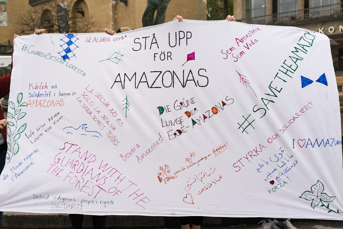 All Eyes on the Amazon - Solidarity Protest in Sweden. © Kajsa Falk / Greenpeace
