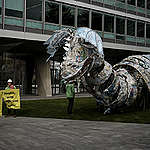 Plastic Monster Action at Nestlé Headquarters in Switzerland © Yukon Benner / Greenpeace