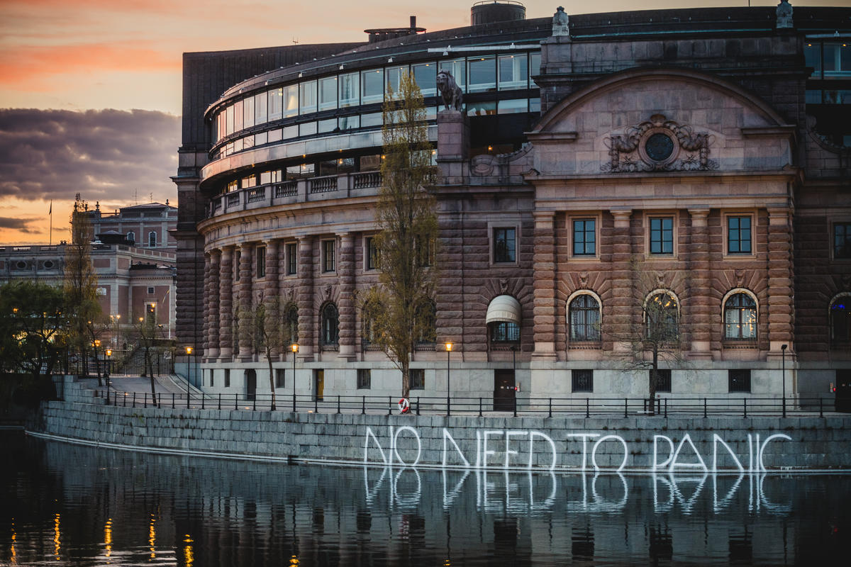 No Need to Panic Activity at Swedish Parliament in Stockholm. © Jana Eriksson / Greenpeace