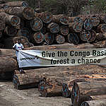 'Give the Congo Basin Forest a Chance' banner in Matadi © Pierre Gleizes / Greenpeace