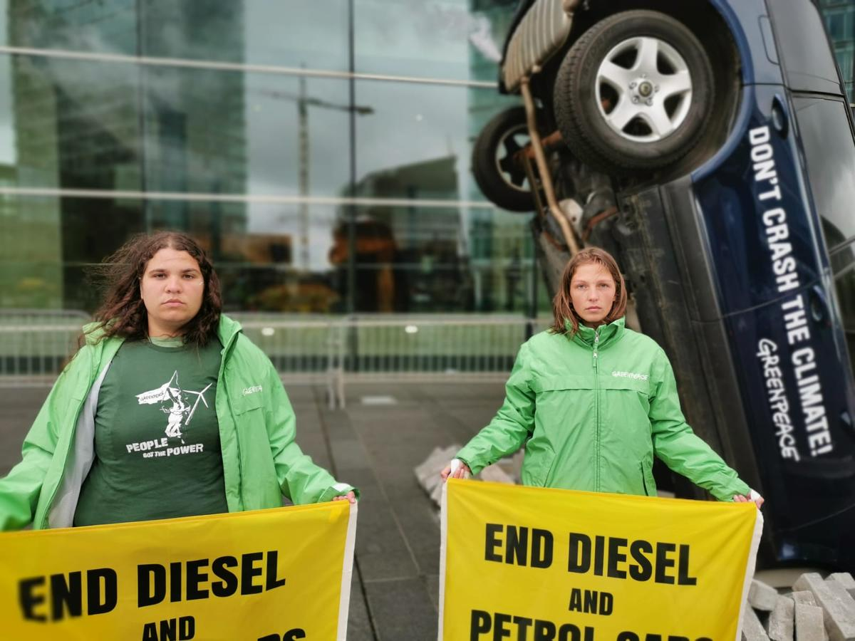Protest at the EU Transport Ministers in Luxembourg © Sara Poza / Greenpeace