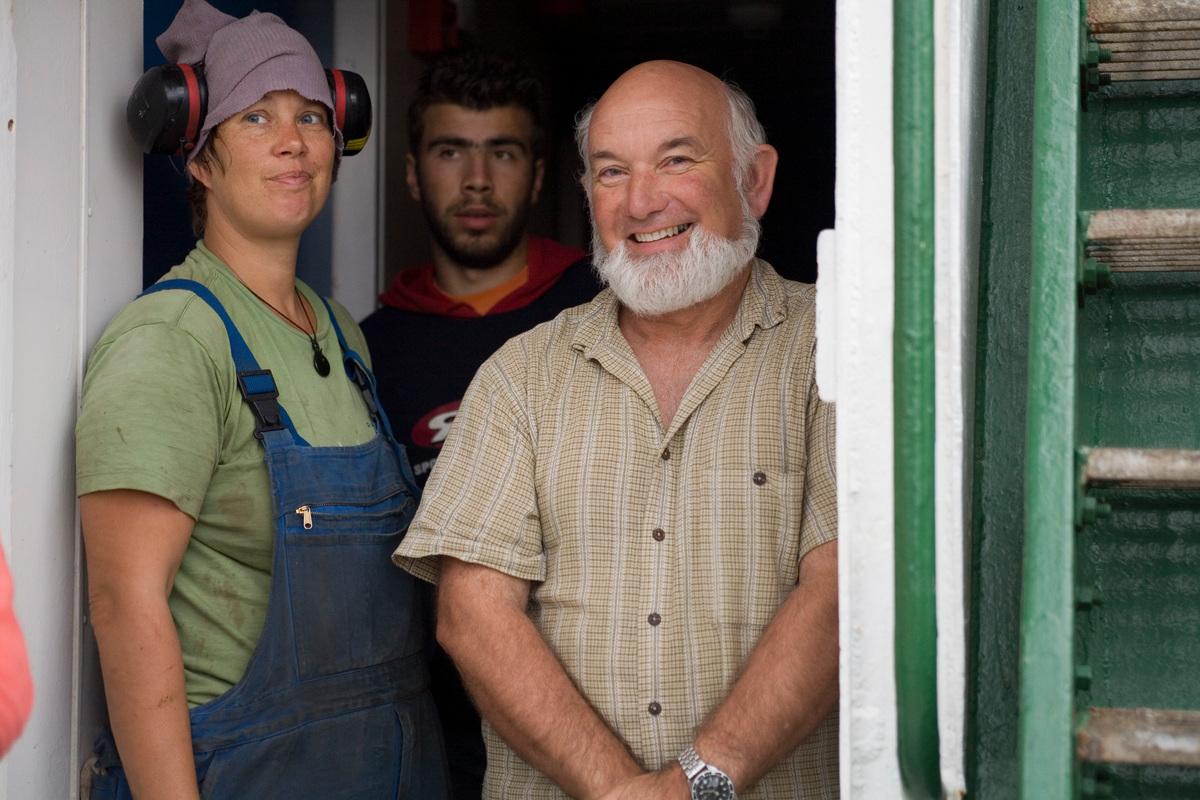 Beate Lochhaas, Sakis Manisiotis and Roger Grace - Mediterranean Tour 2006 - Rainbow Warrior - Life Onboard. © Greenpeace / Nick Cobbing