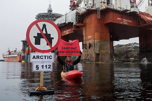 Protest against Arctic Oil at Statoil Commissioned Rig in Norway© Christian Åslund / Greenpeace