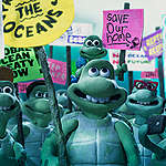 Still taken from the stop motion animation a 'Turtle Journey', produced by Aardman Animations and Greenpeace UK to highlight the plight of the oceans.