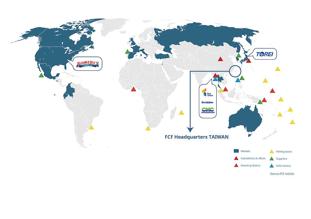 Map showing FCF's global markets, buyers, suppliers and factories