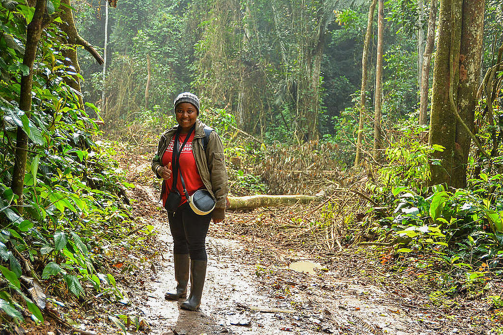 Forest Campaigner in Cameroon Rainforest. © Jean-Pierre-Kepseu / Greenpeace