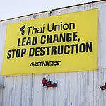 Blockade of Petit Navire Factory in France. © Pierre  Baelen / Greenpeace