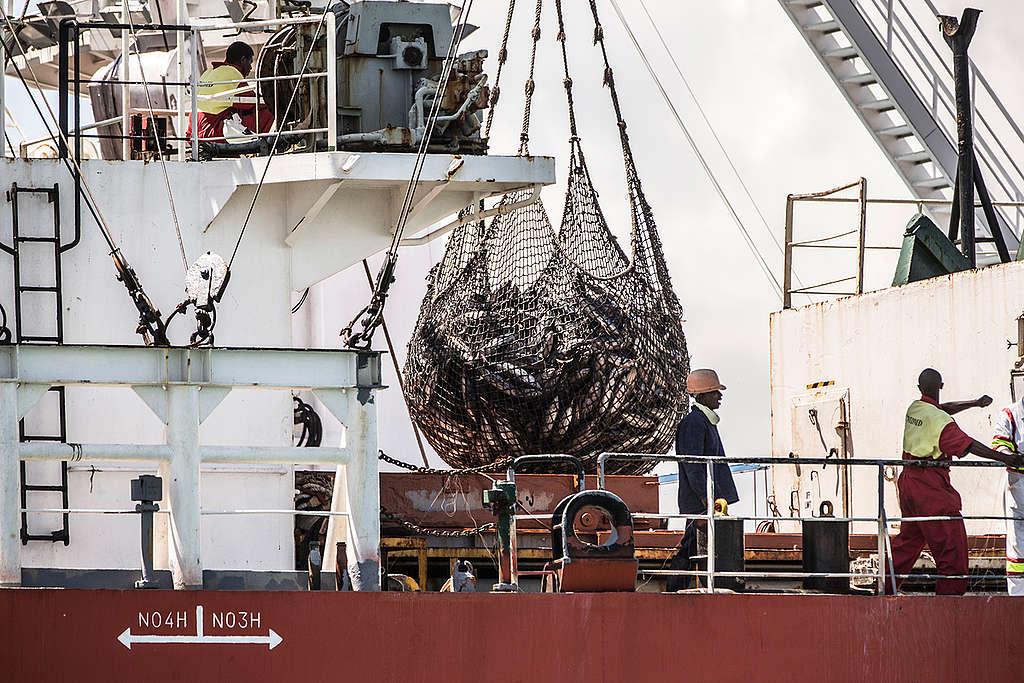 Tuna Transshipment in Madagascar. © Pierre  Baelen / Greenpeace