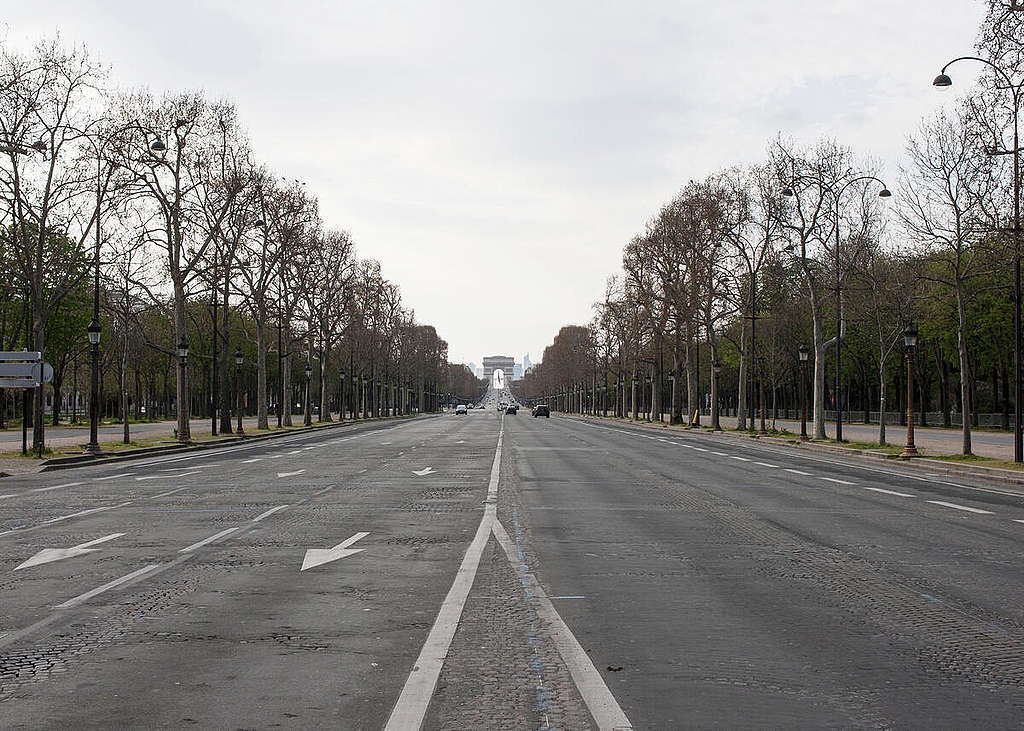 Paris during the Corona Virus Shutdown. © Jérémie Jung / Greenpeace