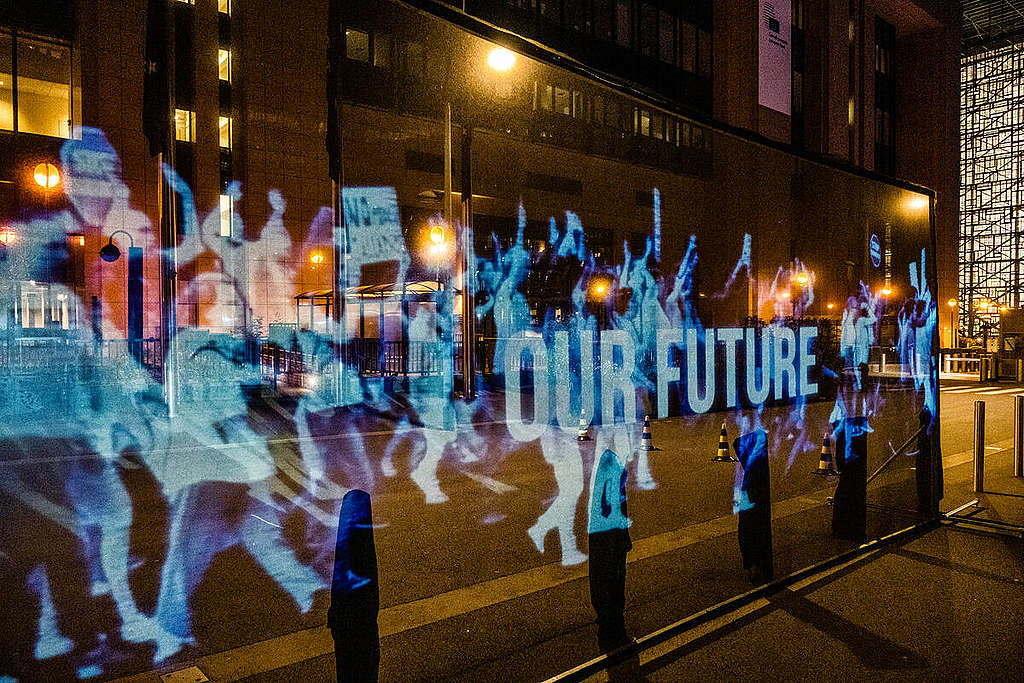 Hologram Projection at European Council Summit in Brussels. © Tim Dirven / Greenpeace