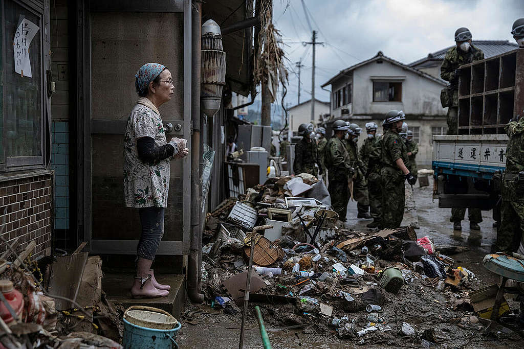 Hitoyoshi city, Kumamoto Pref, Japan - A rainy season front caused heavy downpours across large areas of Kyushu. Flooding and landslides caused extensive damage, particularly in Kumamoto Prefecture. Dozens of people have been killed and more than one million people have been ordered to evacuate.