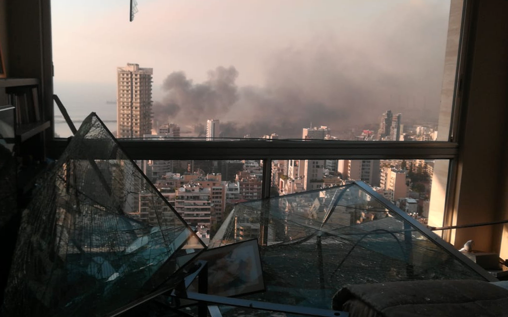 A view of the blast site from an Ashrafieh apartment, Beirut.