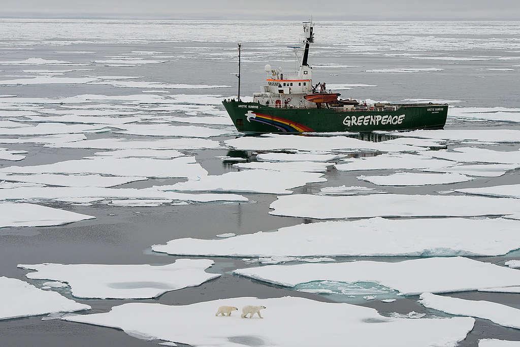 MY Arctic Sunrise in the Arctic. © Daniel Beltrá / Greenpeace
