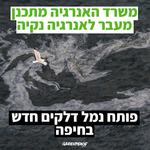 גרינפיס על התכנית ״להאצת המשק״ של משרד האנרגיה: ״צעד נוסף בכבילת המשק הישראלי לגז״