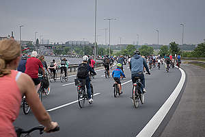 Mass Bike Ride on Motorway in Berlin. © Ruben Neugebauer