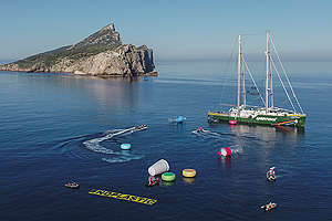 The Rainbow Warrior Invaded by Giant Plastic Packaging in the Med. © Pedro Armestre