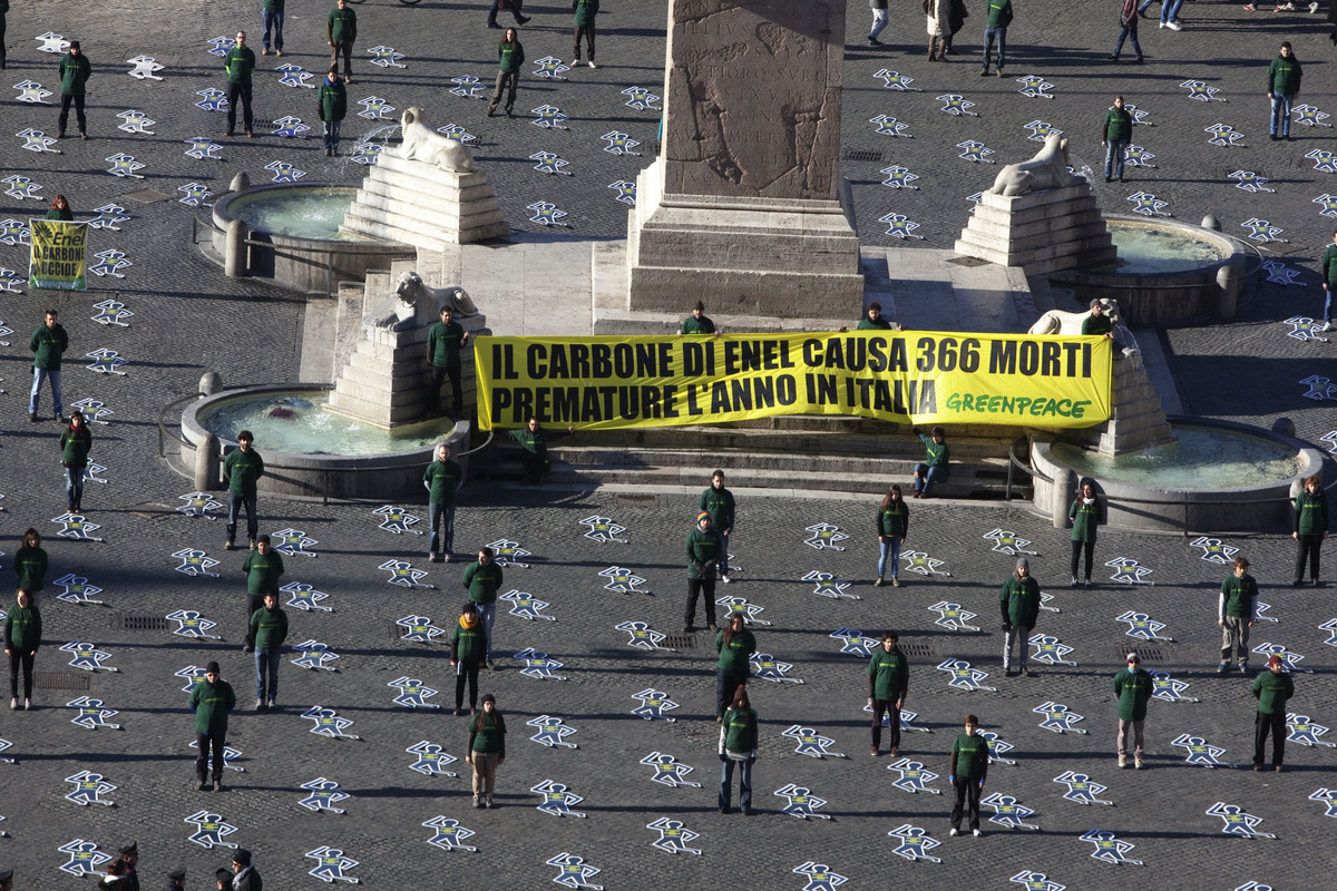 No Coal Action at Enel Party in Rome. © Francesco Alesi
