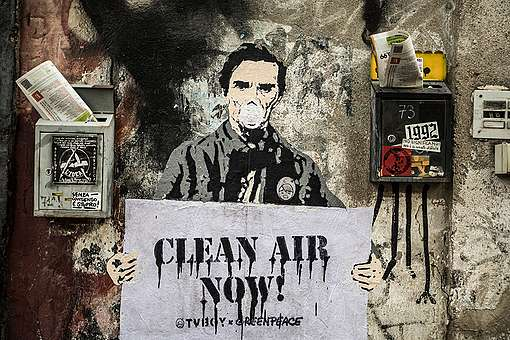 Clean Air Street Art Action in Rome. © Lorenzo Moscia