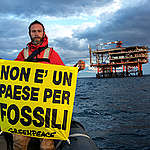 'No Drilling' Banner Protest in Italy. © Francesco Alesi