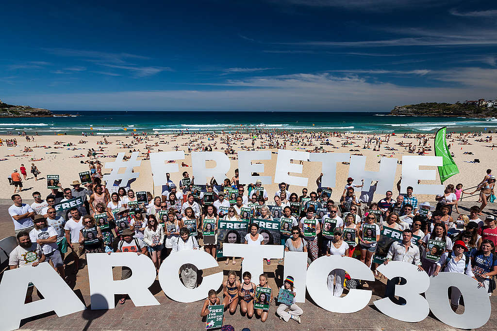 'Arctic 30' Global Day of Solidarity in Sydney. © Tom Jefferson / Greenpeace