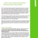 Japan's role in global climate efforts –  will action follow words at G20?