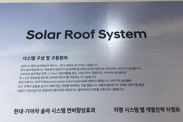 솔라 루프 설명. 자동차 지붕에 설치하는 태양광으로는 보조 전력을 생산하는 수준이다