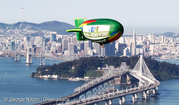 Greenpeace Airship flies over San Francisco Bay, Monday, Feb. 7, 2014. Photo by George Nikitin/Greenpeace
