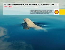 석유시추를 위해 북극으로 가겠다는 쉘 사의 광고
