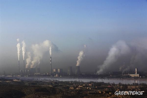 석탄 공업 단지 옆으로 흐르는 황하강
