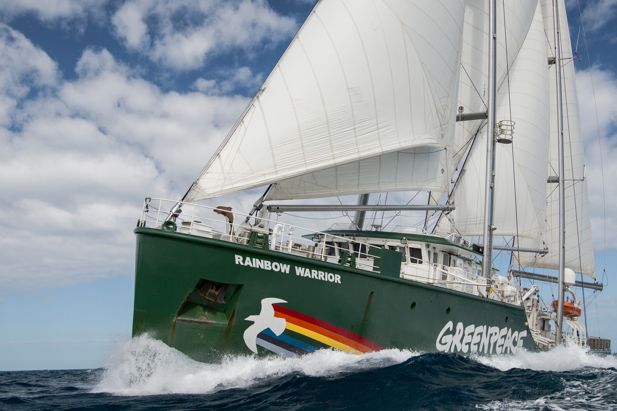 The Rainbow Warrior under sail off the coast of Queensland near Mackay and Hat Point Coal Terminal. The ship was on the Great Barrier Reef as UNESCO passed a decision to keep the Reef on a watching brief due to the impacts of industrialisation, agricultural run off and climate change. The tour also coincided with the 30th anniversary of the bombing of the Rainbow Warrior by the French government on the 10th of July 1985.