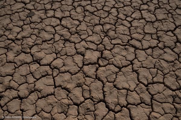 가뭄으로 인해 바닥을 드러낸 스페인 우에르바 강의 모습