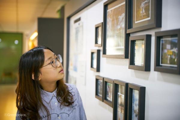 그린피스 서울사무소의 활동 사진들을 보는 하현 어린이