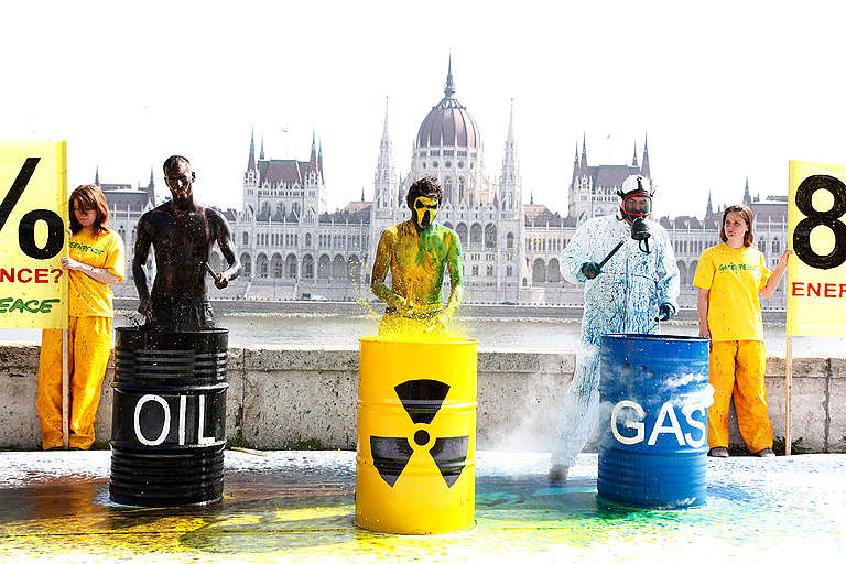 Oil, Nuclear, and Gas Dependence Protest in Budapest