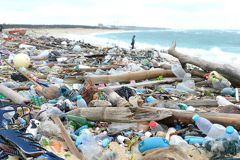 Plastic Pollution on Beach in Penghu, Taiwan
