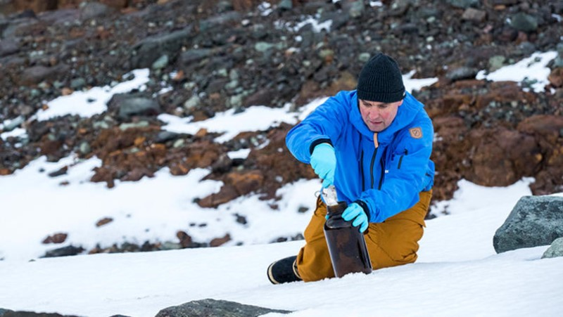 Campaigner Thilo Maack takes snow samples, for testing of environmental pollutants, on Greenwich Island in the Antarctic. An international Greenpeace team is on an expedition to document the Antarctic's unique wildlife, to strengthen the proposal to create the largest protected area on the planet, an Antarctic Ocean Sanctuary.