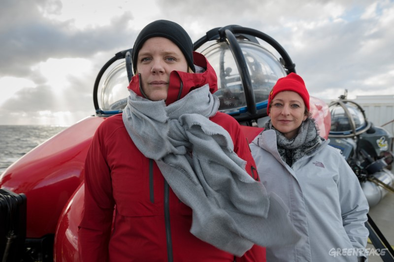 Frida Bengtsson global project leader for Greenpeace Antarctic Sanctury campaign and scientist Susanne Lockhart onboard the Arctic Sunrise en route to the Antarctic for scientific research into the biodiversity of the Antarctic ocean. The scientists on board will gather data to strengthen the case for the creation of an ocean sanctuary in the Weddell Sea.
