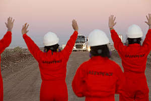 Stop Fracking Patagonia Action in Vaca Muerta, Argentina. © Sebastian Pani