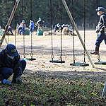 Ouvriers à l'école, Namie, préfecture de Fukushima.