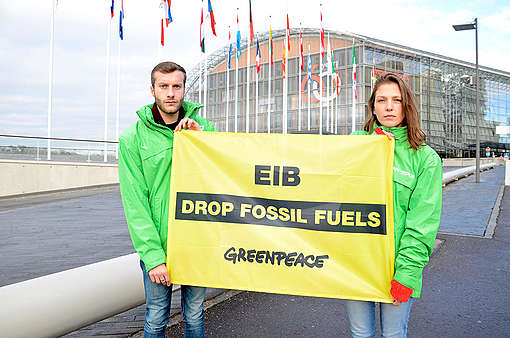 Action at the European Investment Bank in Luxembourg. © Anais Hector / Greenpeace