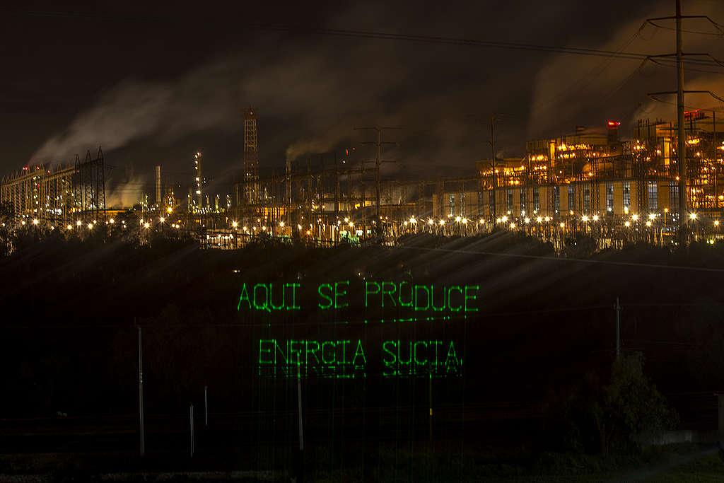 Mensaje de Greenpeace desde la termoeléctrica de Tula Hidalgo