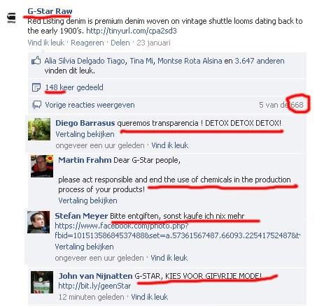 Er zijn ontzettend veel comments geplaastst door onze achterban op de Facebook van G-Star!