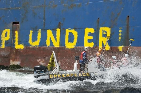 Painting Action against Russian Trawler in Africa
