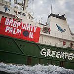 Schip met palmolie richting Rotterdam al 24 uur vertraagd door Greenpeace