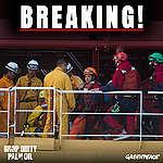 Zes activisten tijdens protest op tanker met palmolie gearresteerd