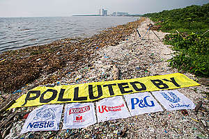 Freedom Island Waste Clean-up and Brand Audit in the Philippines. © Biel Calderon