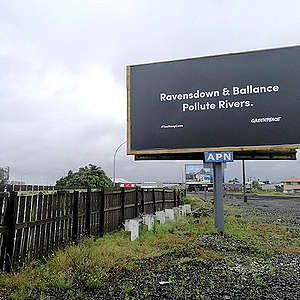 Provocative billboards target Ravensdown and Ballance over river pollution