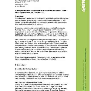 Greenpeace submission to the New Zealand Government's Tax Working Group on the Future of Tax
