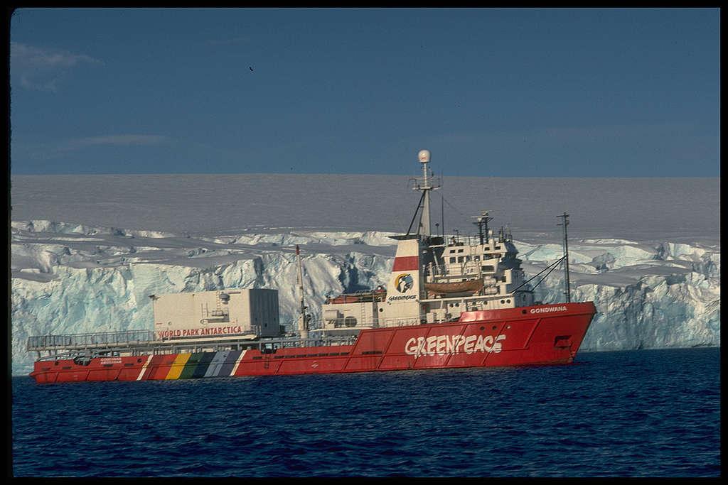 Side view of MV Gondwana, iceberg behind the ship. Arthur Harbour, near Palmer Station (US). © Greenpeace / Robin Culley