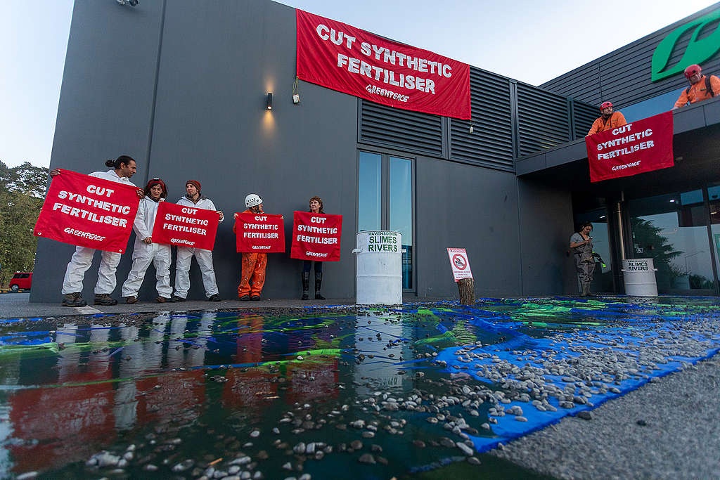 Ravensdown Christchurch HQ slimed by Greenpeace